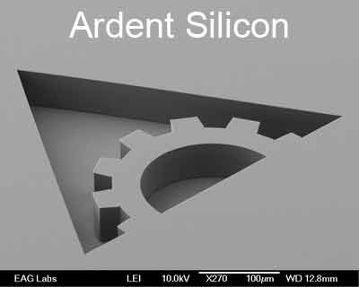 Ardent Research Logo Deep Etched into Silicon